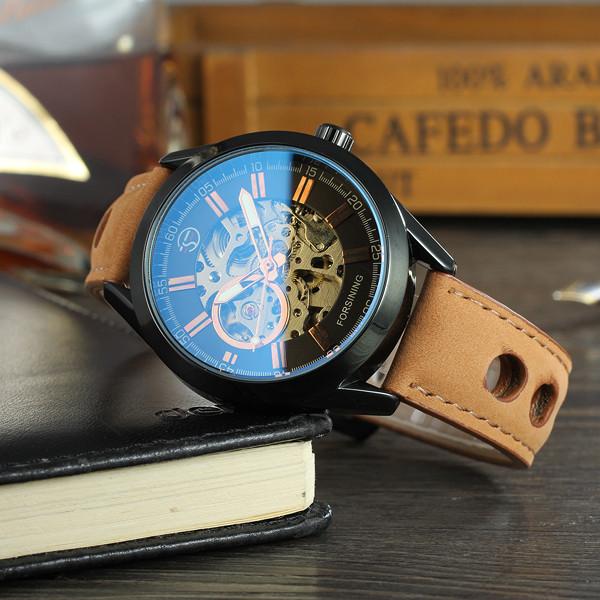 Forsining torres коричневые с черным циферблатом мужские механические часы скелетон