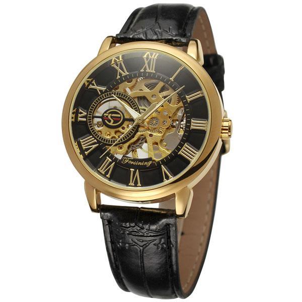 Forsining rich черные с золотым циферблатом мужские механические часы скелетон