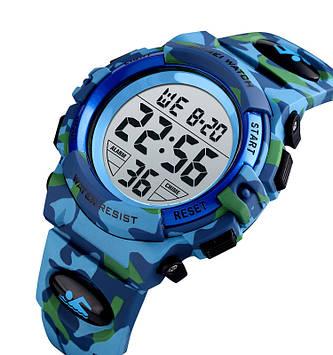 Детские спортивные часы Skmei kids1548 светло синий камуфляж