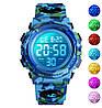 Skmei kids1548 светло синий камуфляж детские спортивные часы, фото 5