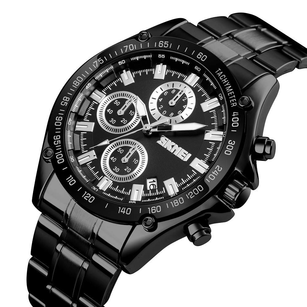 Мужские классические часы Skmei 1393 черные с  черным циферблатом