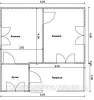 Будинок 6м х 6м з терасою, економ