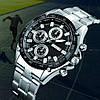 Мужские классические часы Skmei 1393 серебристые с  черным циферблатом, фото 4