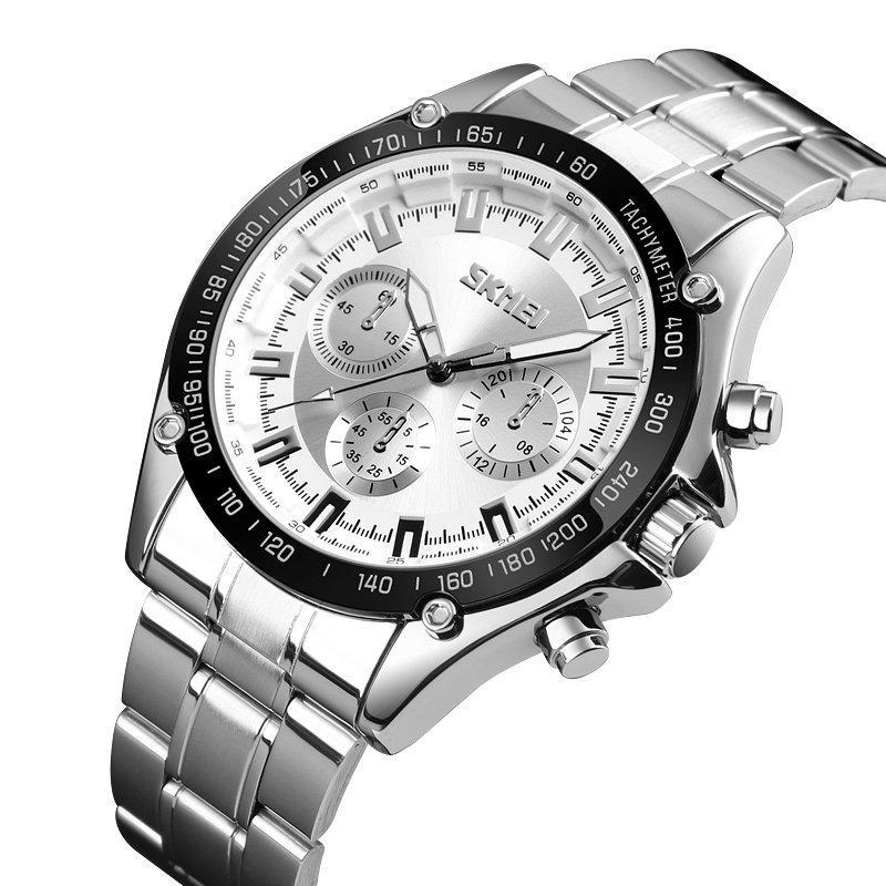 Мужские классические часы Skmei 1366 серебристые с серебристым циферблатом