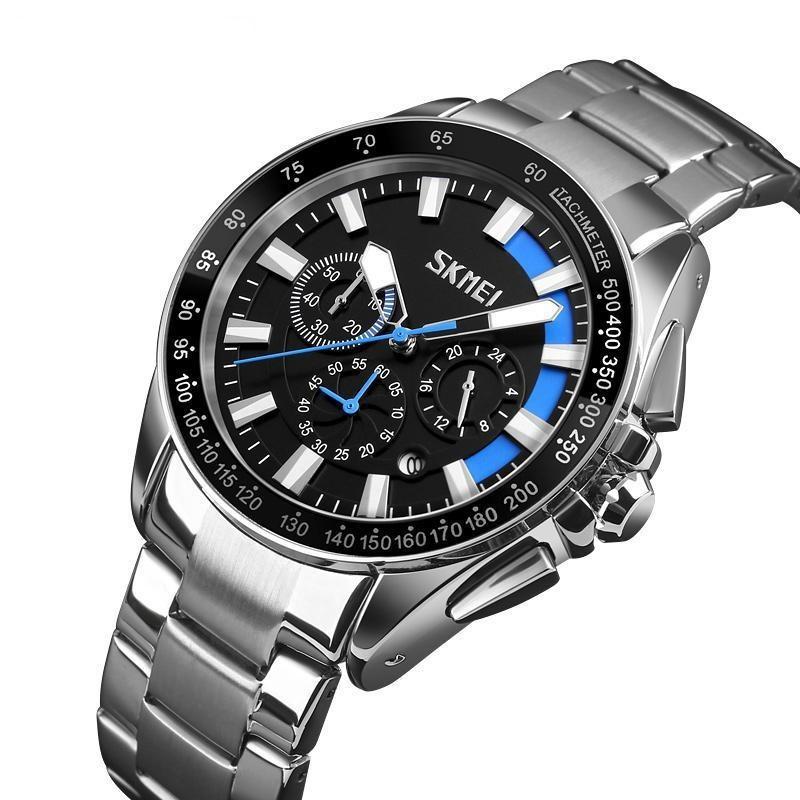 Мужские классические часы Skmei 9167 черные с синими вставками