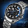 Мужские классические часы Skmei 9167 черные с синими вставками, фото 3
