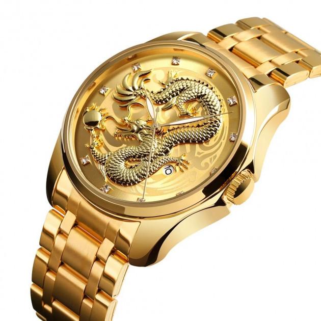 Мужские классические часы Skmei  9193 золотистые
