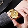 Мужские классические часы Skmei  9193 золотистые, фото 5