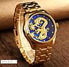 Мужские классические часы Skmei  9193 золотистые с синим, фото 3