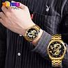 Классические часы Skmei  9193 золотистые с черным мужские, фото 4
