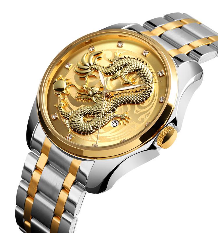 Мужские классические часы Skmei  9193 серебристые с золотым