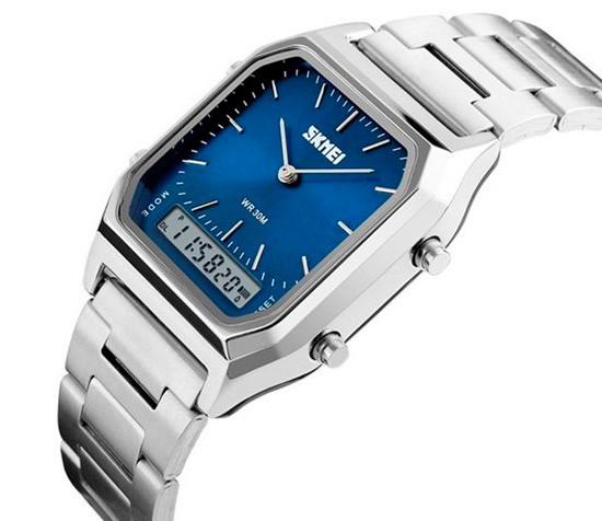 Мужские наручные часы Skmei 1220 tango серебристые с синим циферблатом