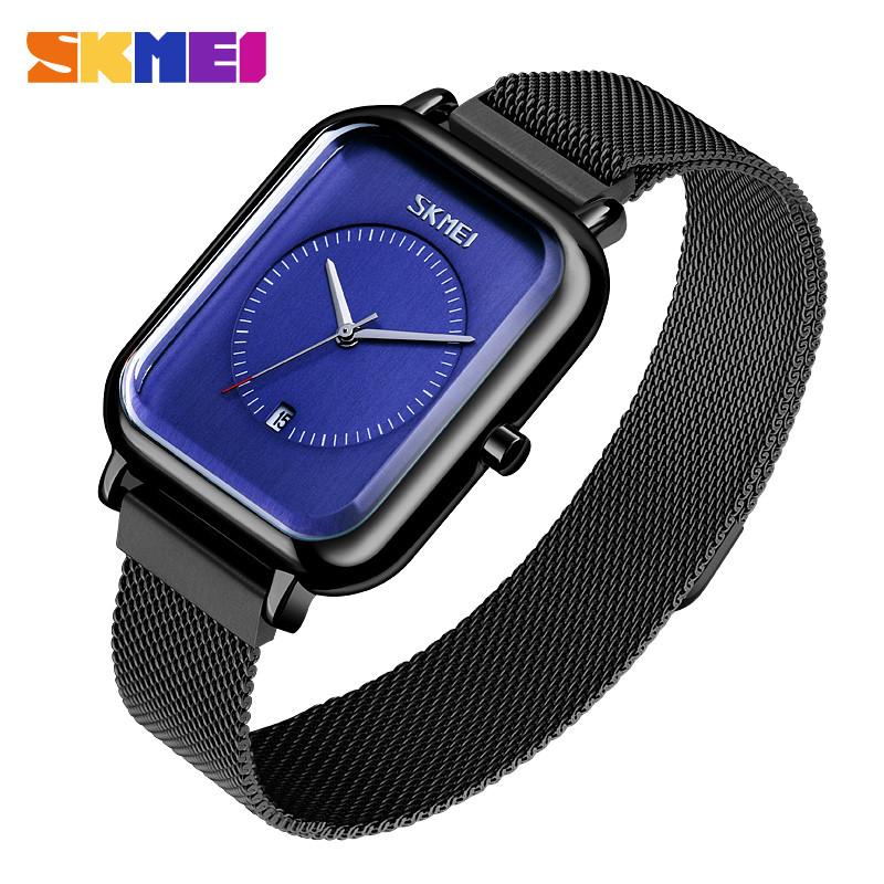 Мужские классические наручные часы Skmei 9207 черные с синим