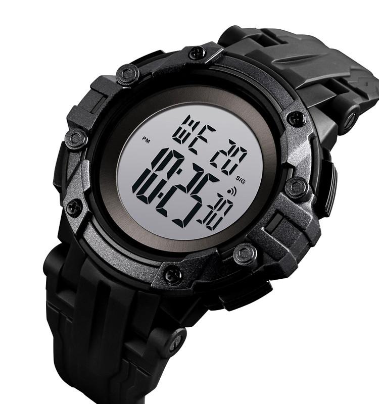 Мужские спортивные часы Skmei 1545 черные с белым циферблатом