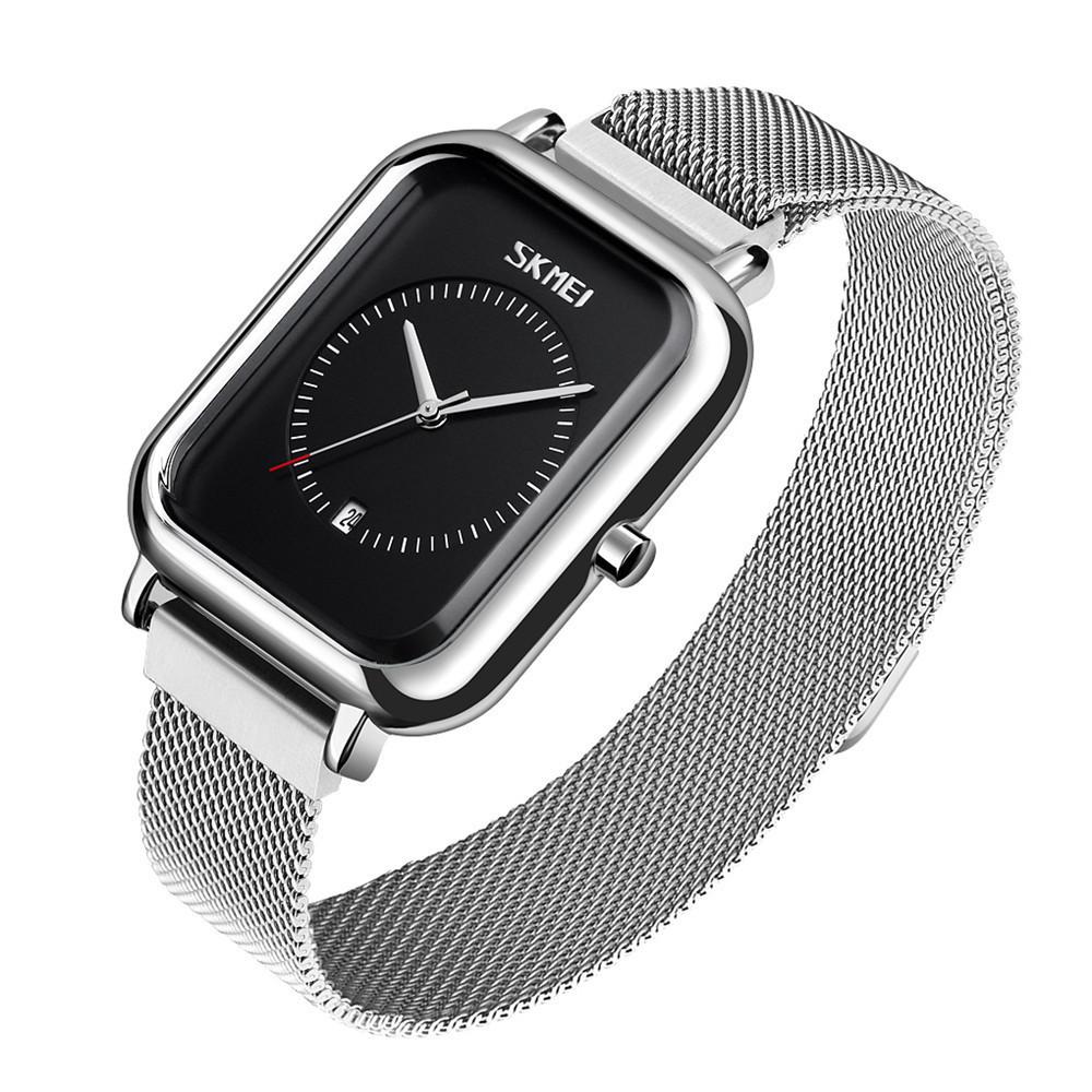 Женские классические наручные часы Skmei 9207 серебристые с черным