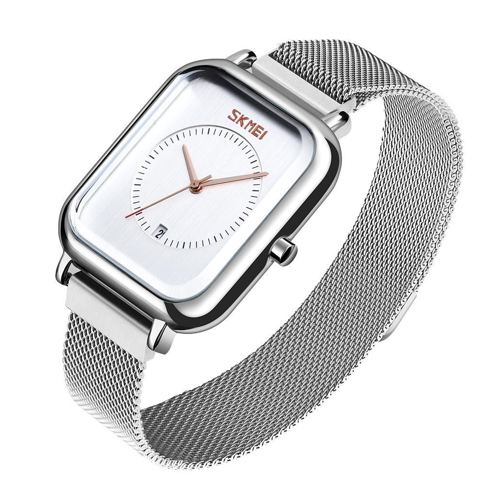 Женские классические наручные часы Skmei 9207 серебристые с белым