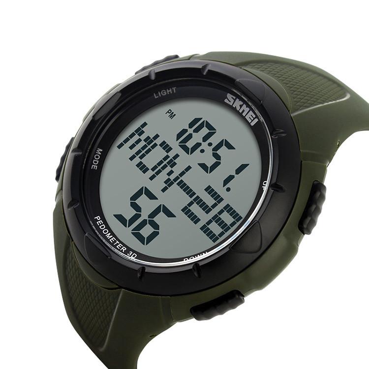 Мужские спортивные часы Skmei 1122 зеленые с шагомером