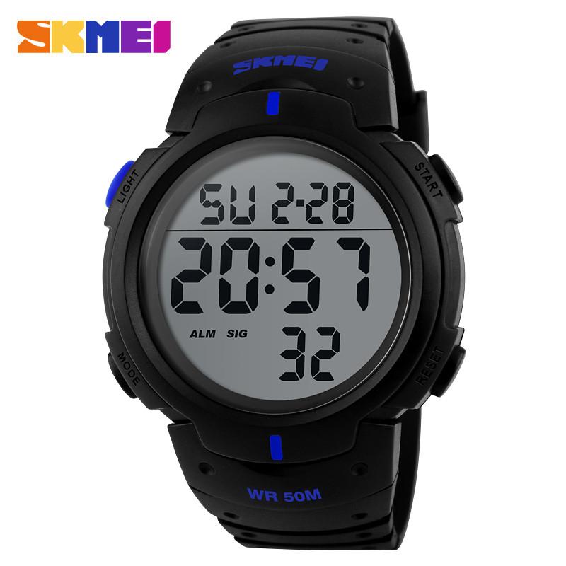 Skmei 1068 черные с синими вставками мужские спортивные часы