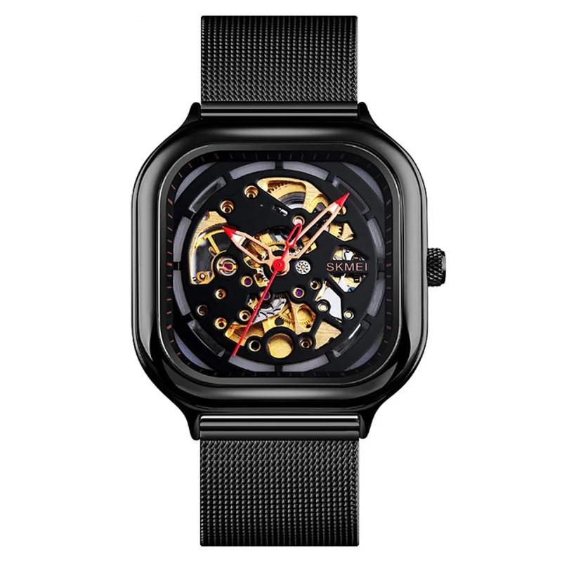 Skmei 9184 черные механические часы скелетон