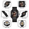 Skmei 9184 черные механические часы скелетон, фото 6