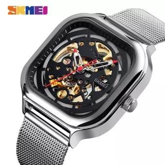 Механические часы скелетон Skmei 9184 серебристые