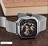 Механические часы скелетон Skmei 9184 серебристые, фото 4