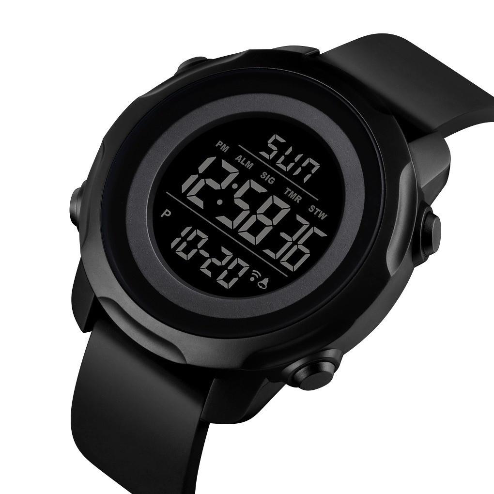 Мужские спортивные часы Skmei  1540 черные с черным циферблатом