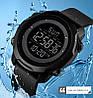 Мужские спортивные часы Skmei  1540 черные с черным циферблатом, фото 8