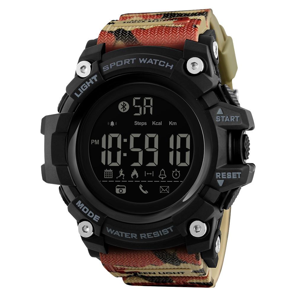 Мужские спортивные смарт часы Skmei 1227 красный камуфляж