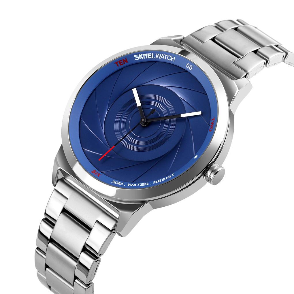 Мужские часы Skmei 9210 серебристые с синим
