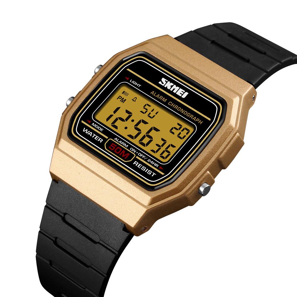 Мужские спортивные часы Skmei 1412 золотистые с золотым дисплеем