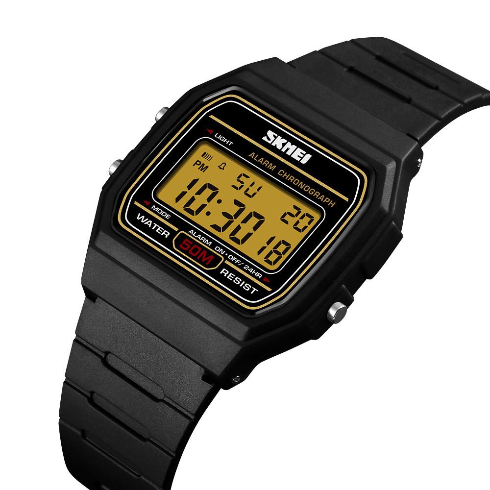 Мужские спортивные часы Skmei 1412 черные с золотым дисплеем