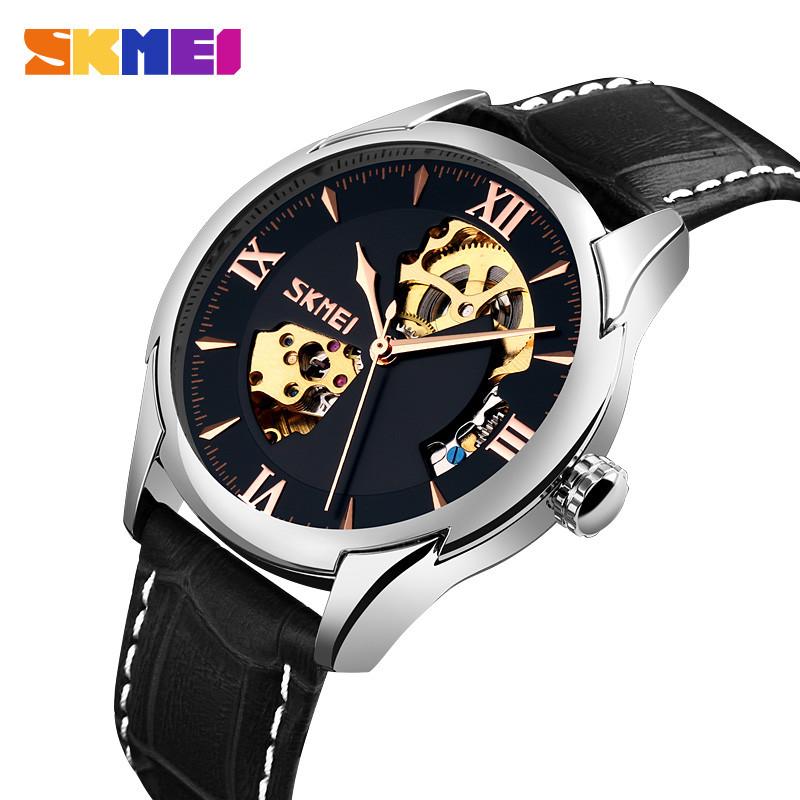 Механические часы скелетон Skmei 9223 черные мужские