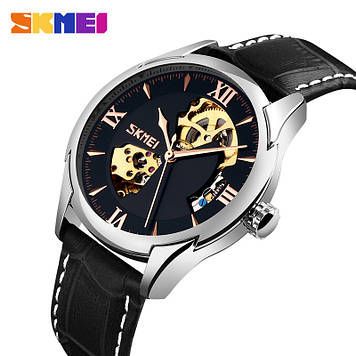 Мужские Механические часы скелетон Skmei 9223 черные