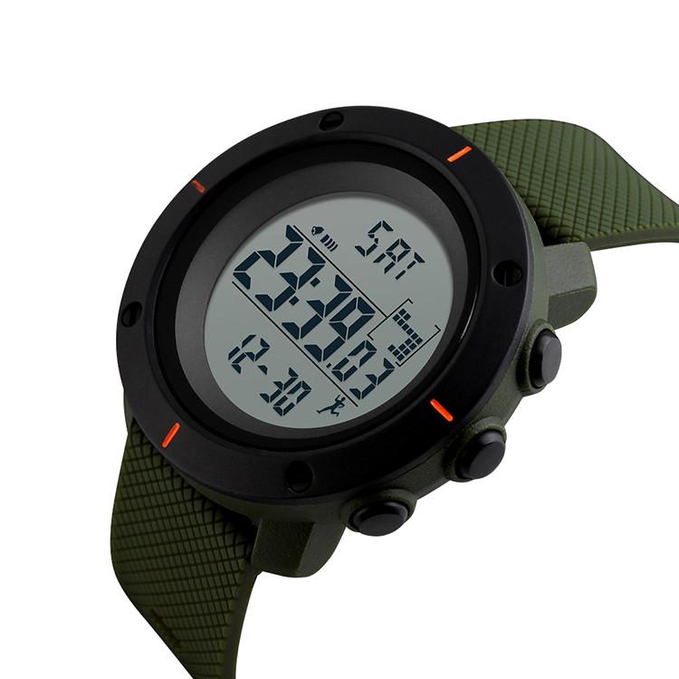 Спортивные часы Skmei 1215  зеленые мужские  с шагомером