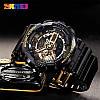 Мужские спортивные  часы Skmei 1688 Черные с золотистым, фото 5