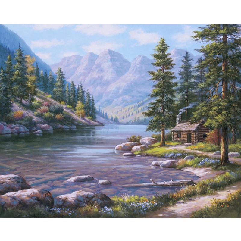 """Картина по номерам на холсте с рамкой  40*50 см """"Горный пейзаж"""""""