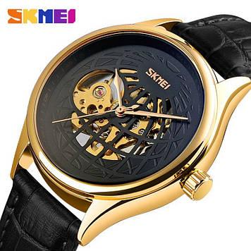 Мужские механические часы скелетон Skmei 9209 золотые с черным циферблатом