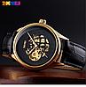Мужские механические часы скелетон Skmei 9209 золотые с черным циферблатом, фото 4