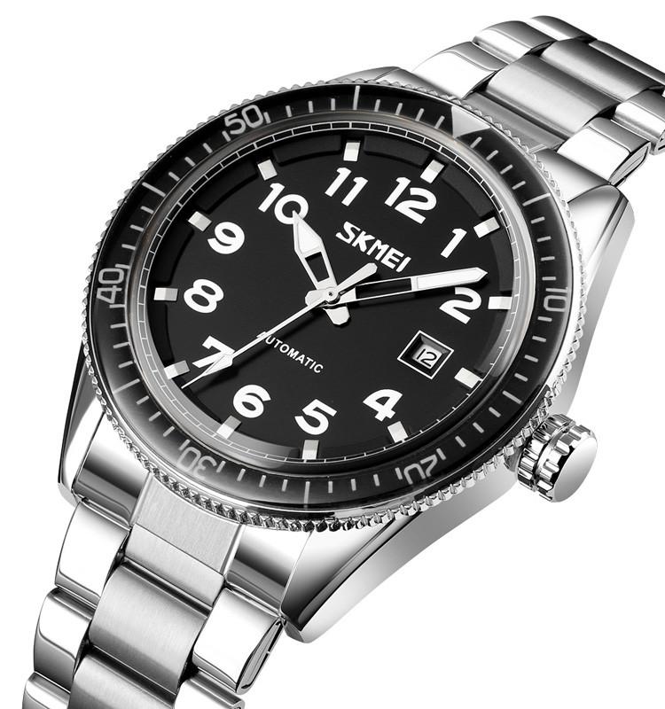 Мужские механические часы скелетон Skmei 9232 серебристые