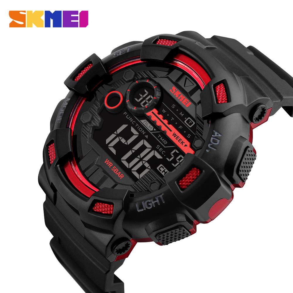 Мужские спортивные часы Skmei 1243 champion черные с красным