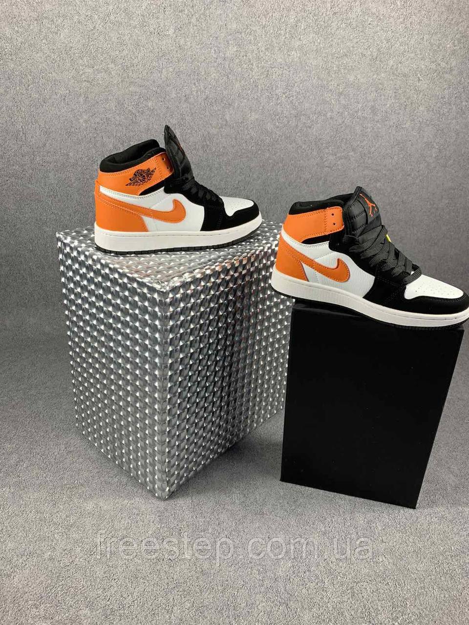 Жіночі кросівки в стилі Nike Air Jordan білі з чорним, оранжевим