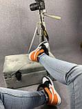 Жіночі кросівки в стилі Nike Air Jordan білі з чорним, оранжевим, фото 2