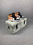 Жіночі кросівки в стилі Nike Air Jordan білі з чорним, оранжевим, фото 3