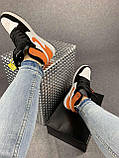 Жіночі кросівки в стилі Nike Air Jordan білі з чорним, оранжевим, фото 5