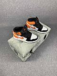 Жіночі кросівки в стилі Nike Air Jordan білі з чорним, оранжевим, фото 6