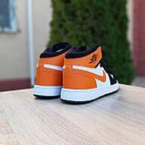 Жіночі кросівки в стилі Nike Air Jordan білі з чорним, оранжевим, фото 7