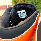 Жіночі кросівки в стилі Nike Air Jordan білі з чорним, оранжевим, фото 8