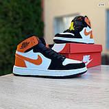 Жіночі кросівки в стилі Nike Air Jordan білі з чорним, оранжевим, фото 10