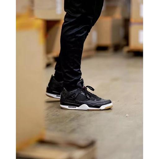 Кроссовки мужские Nike Air Jordan 4 Retro Black Laser в стиле найк джордан Черные (Реплика ААА+)